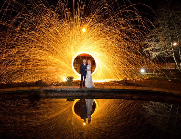 lightpainting wedding photo at the mill park hotel