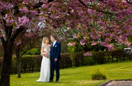 donegal and sligo wedding photographer bride and groom spring wedding with cherry blossom trees