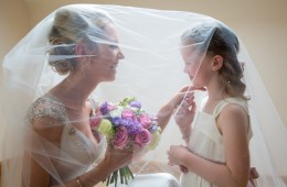 sligo wedding photography bride and flower girl under the viel