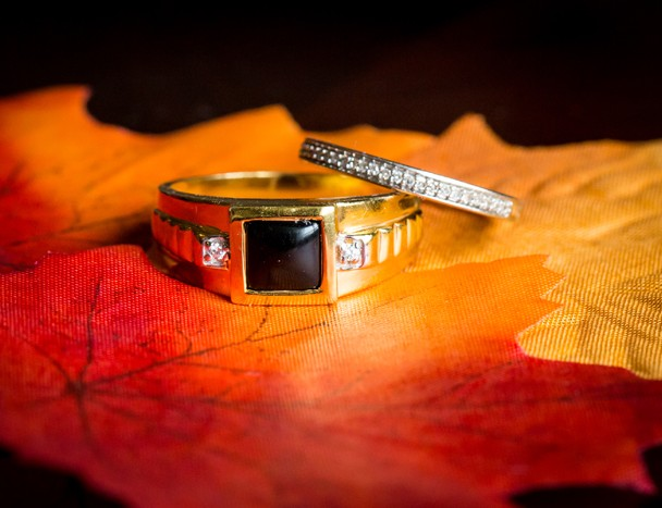bride and grooms wedding rings photo