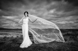 donegal wedding photography bride and her veil on sand dunes