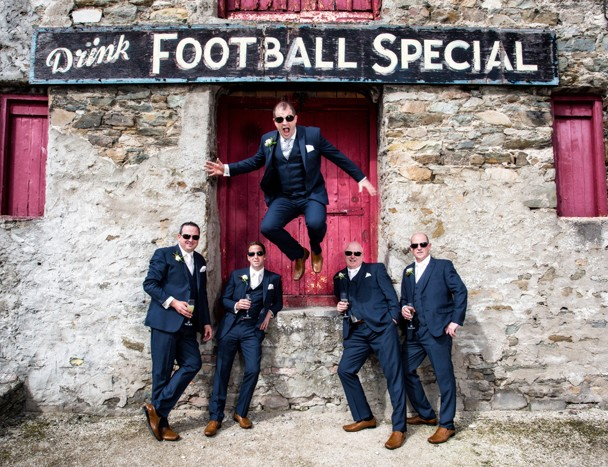 silver tassie hotel wedding groomsmen at the football special factory