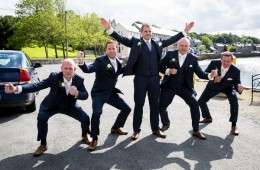 wedding photo in ramelton fun groomsmen photo