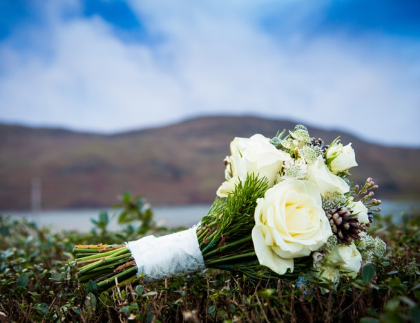 ardara wedding brides wedding bouquet on a hedge