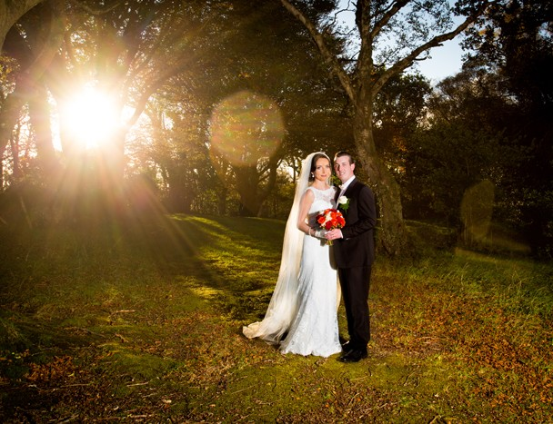 autumn wedding in donegal bride and groom at sunset