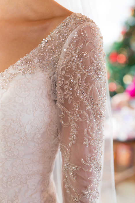 beautiful brides wedding dress detail photo