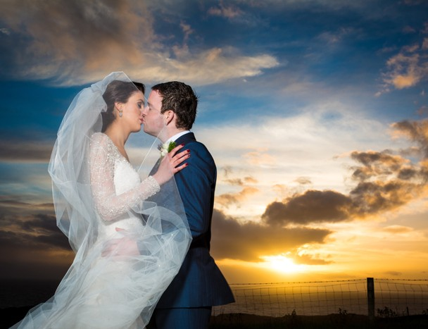 donegal wedding photographers bride and groom at sunset