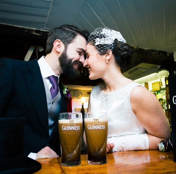 donegal wedding bride and groom with a pint of guinness