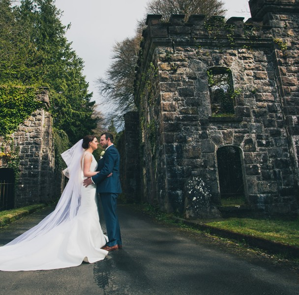fermanagh wedding bride and groom at castle caldwell