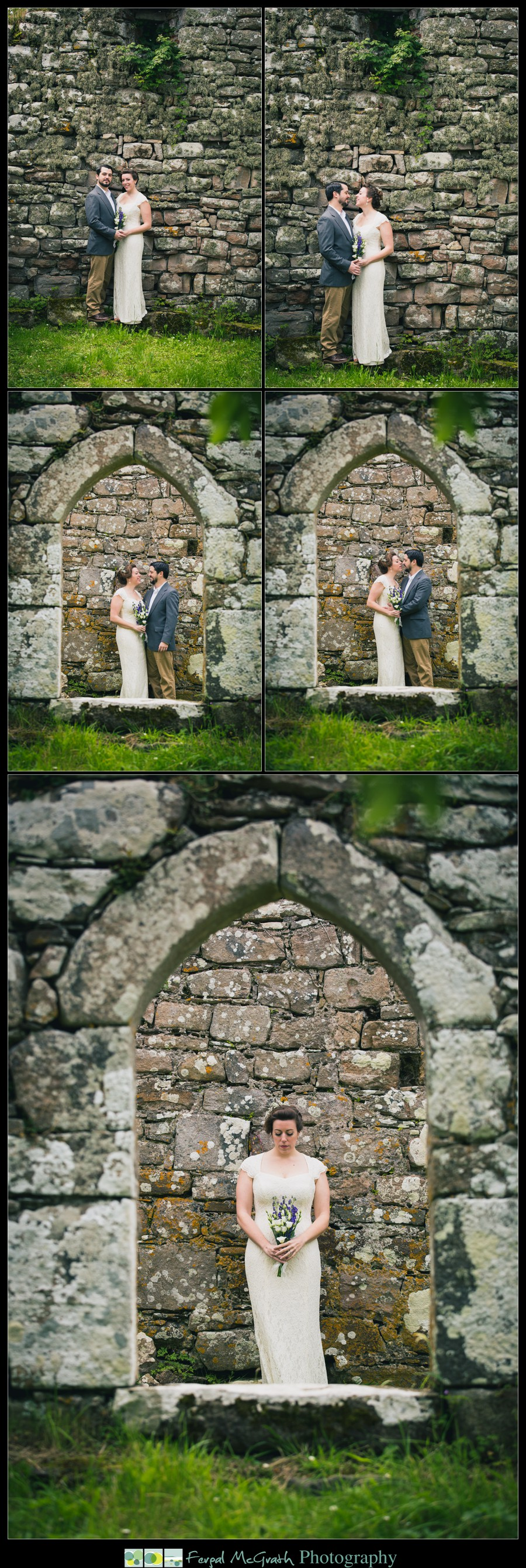 Donegal Wedding Photography bride and groom wedding photos by an old church ruin in donegal