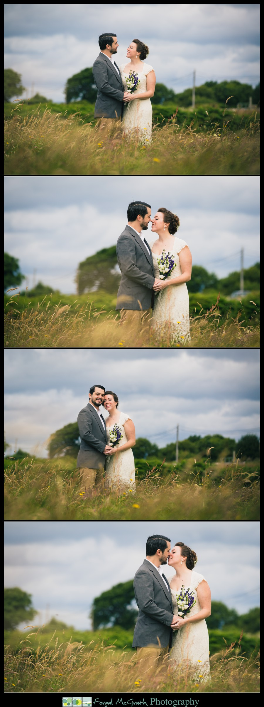 Donegal Wedding Photography bride and groom in a beautiful wild grass meadow in creevy pier