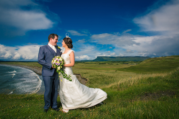 sligo wedding photographer bride and groom with benbulben in the background