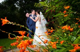 solis lough eske wedding bride and groom in the hotel garden