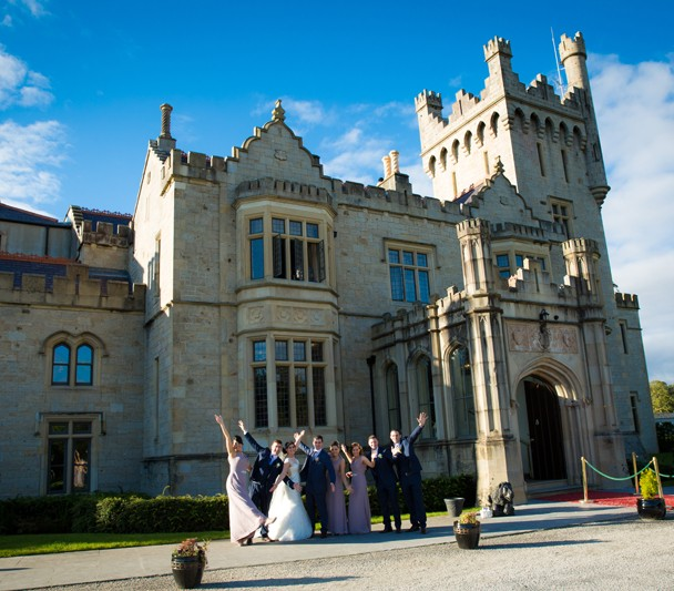 solis lough eske wedding photo of bridal party in front of the castle