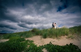 wedding photo in donegal bride and groom on the beach