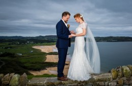 donegal wedding photographer bride and groom at portsalon beach