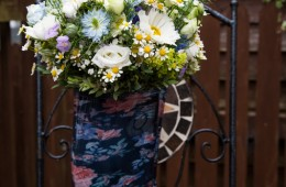 sligo wedding photographer brides bouquet inside her wellies
