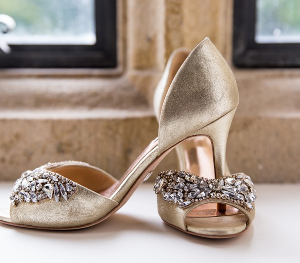 sligo wedding photographer brides wedding shoes in castle window
