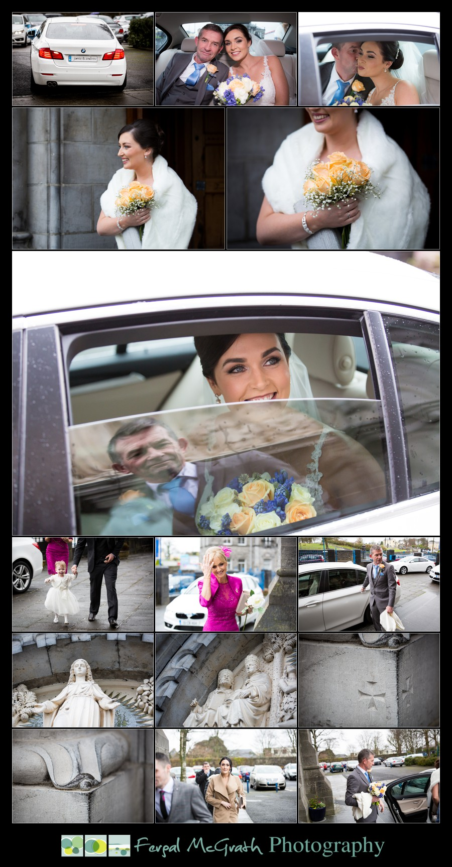 Castle Dargan Hotel Wedding Jamie and Andrew bride arriving at sligo cathedral