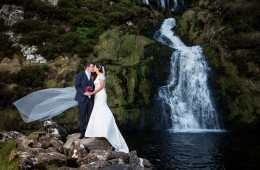 assaranca waterfall ardara wedding photo