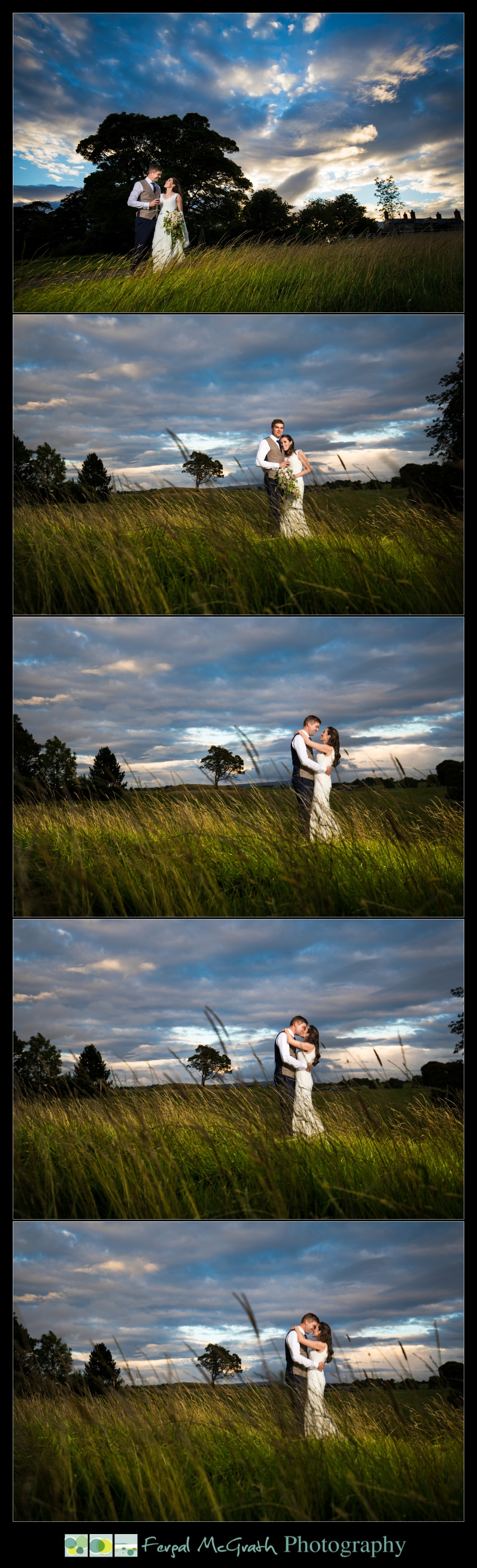 Castle Dargan Hotel Summer Wedding bride and groom sunset photos