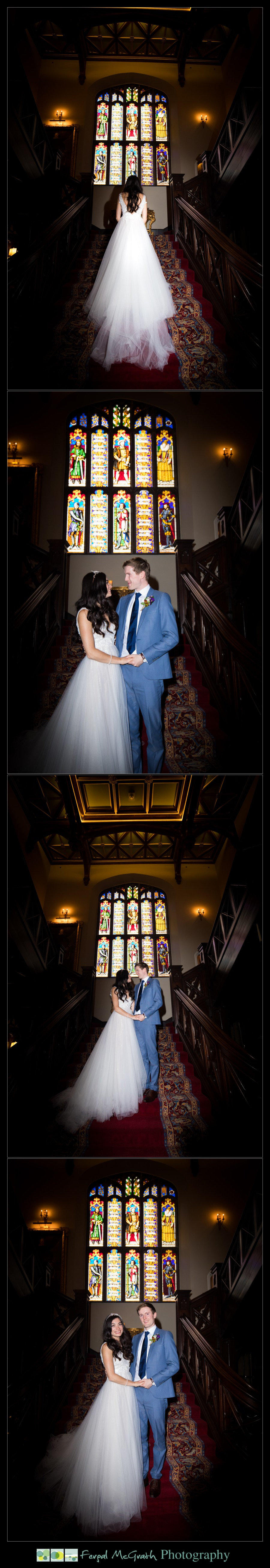 Markree Castle Wedding photos with the beautiful staircase and stained glass windows