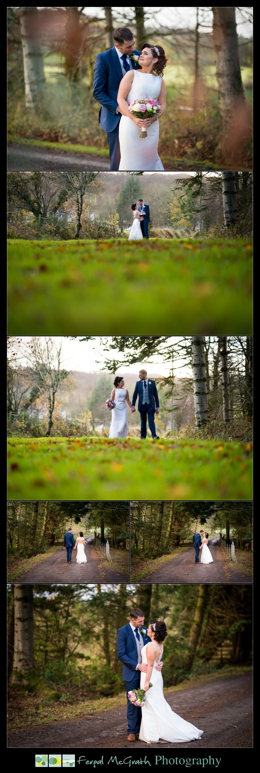 Silver Tassie Hotel Letterkenny Winter Wedding bride and groom photos in beautiful woodland