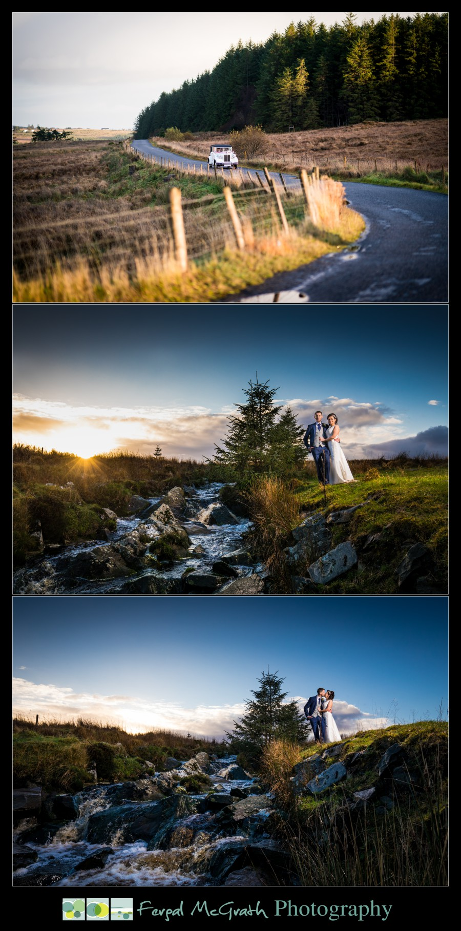 Silver Tassie Hotel Letterkenny Winter Wedding bride and groom beside stunning waterfall at sunset