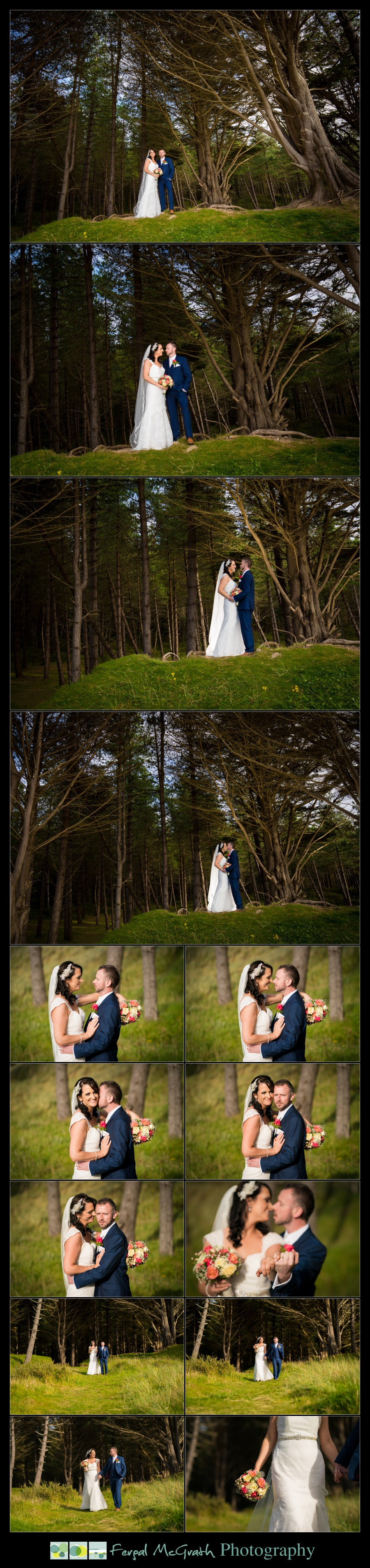 Mill Park Hotel Wedding Laura + John bride and groom photos at forest in murvagh