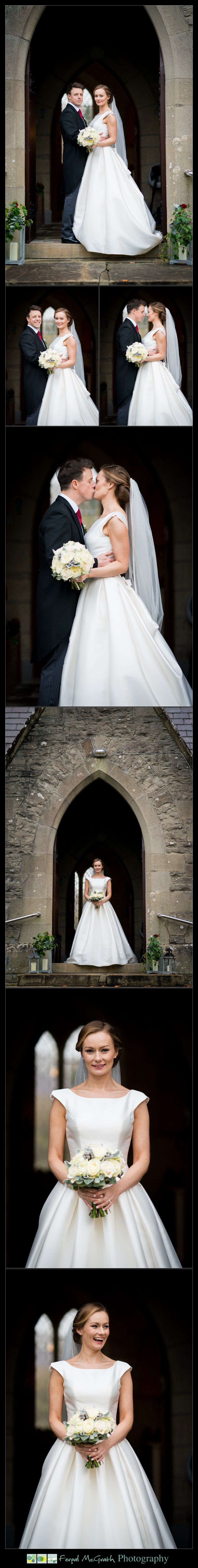 Harveys Point Hotel Winter Weddings stunning bride and groom photos at the church door after the wedding ceremony