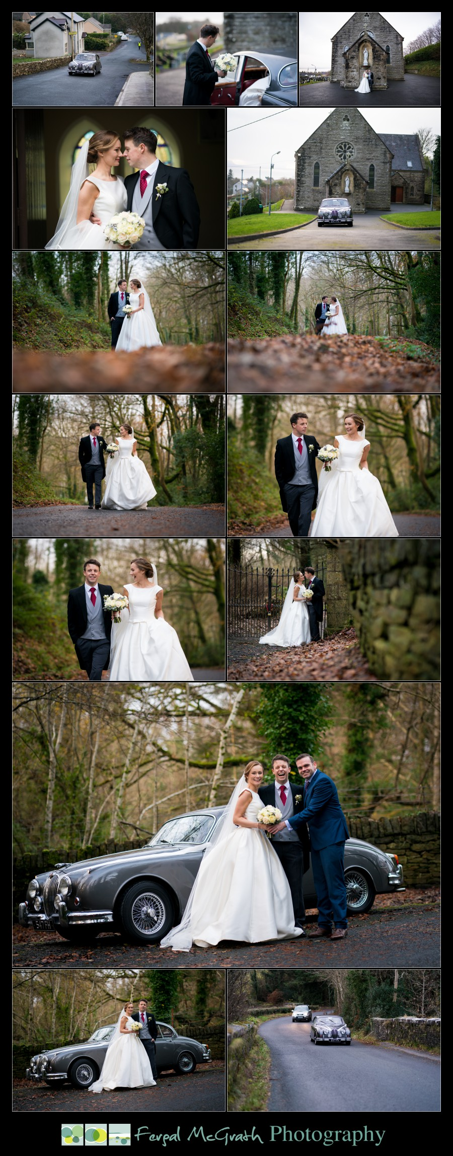 Harveys Point Hotel Winter Weddings bride and groom photos on a country lane in autumn