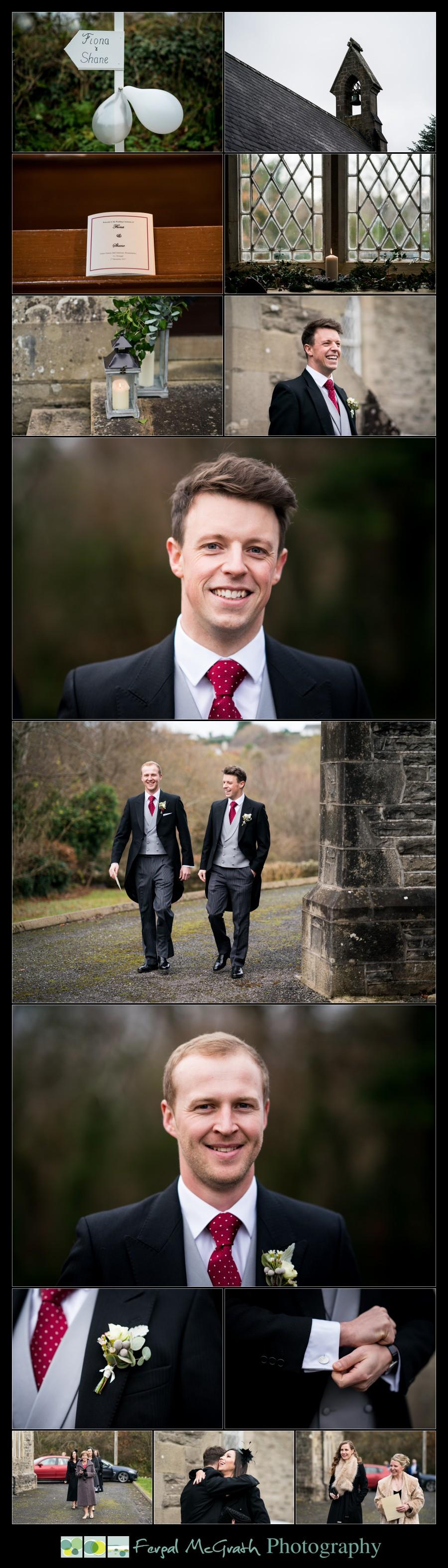 Harveys Point Hotel Winter Weddings groom photos outside the church