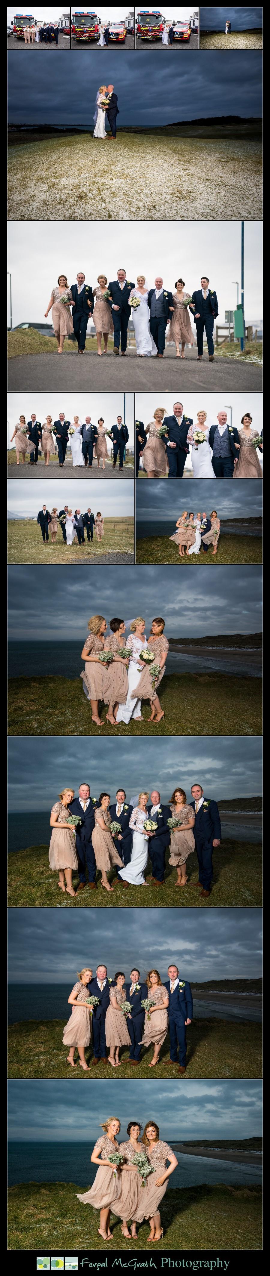 Great Northern Hotel Bundoran Winter Wedding bridal party photos in winter