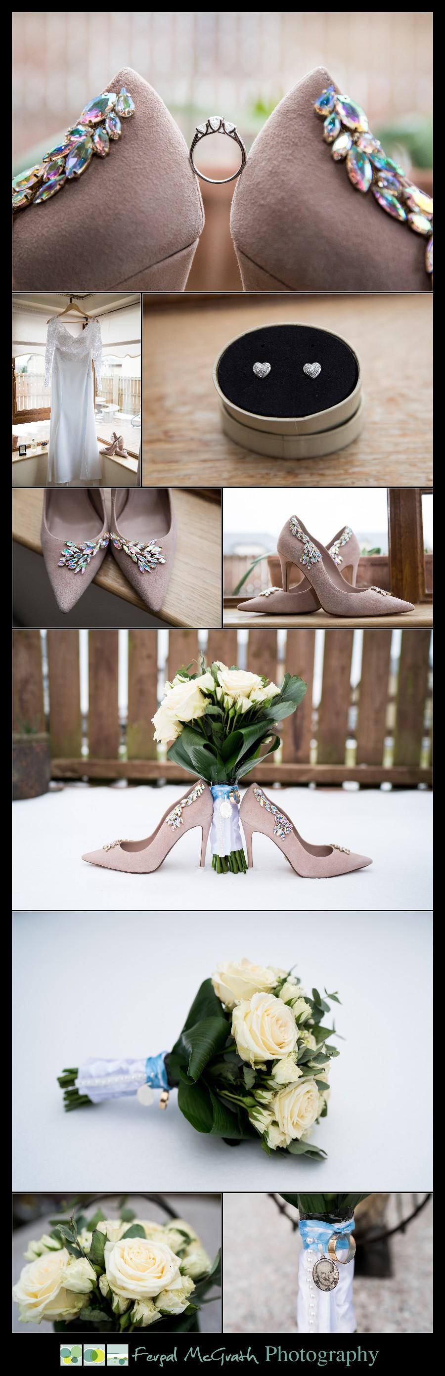 Great Northern Hotel Bundoran Winter Wedding brides wedding shoes and bouquet