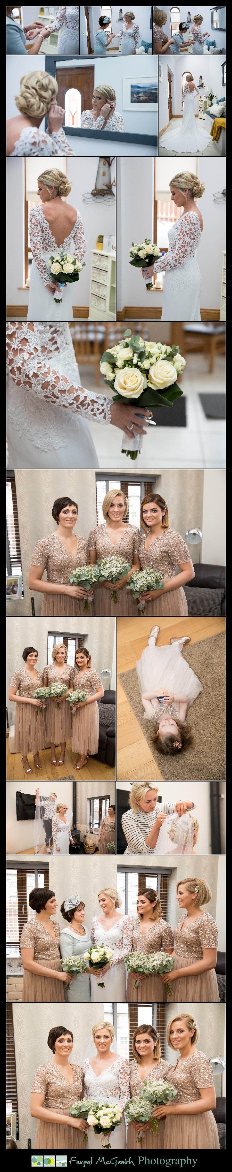 Great Northern Hotel Bundoran Winter Wedding bride getting her wedding dress on photos