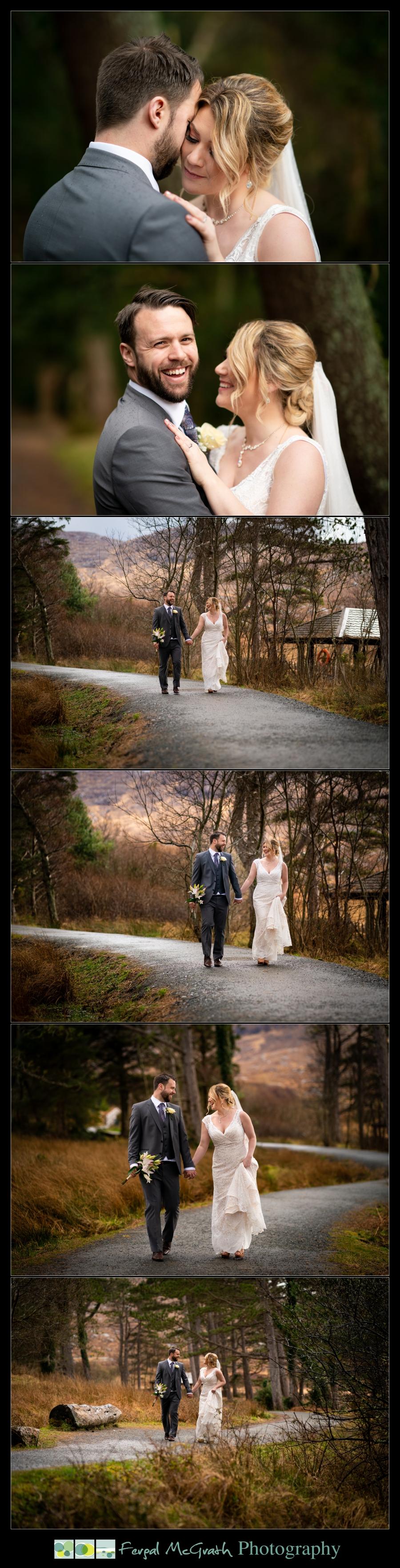 Glenveagh National Park Wedding bride and groom walking around glenveagh national park