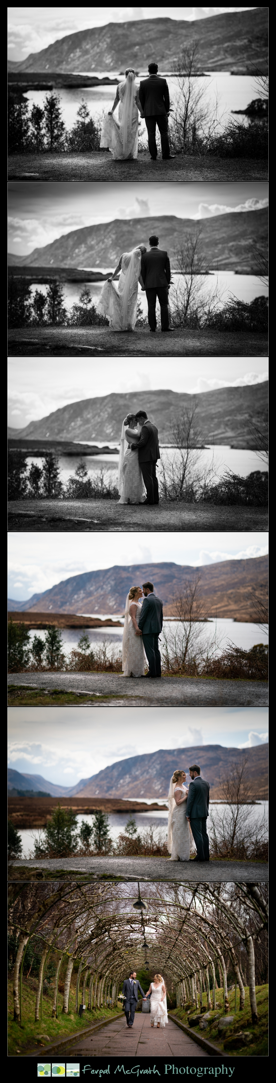 Glenveagh National Park Wedding bride and groom looking across the lake in the park