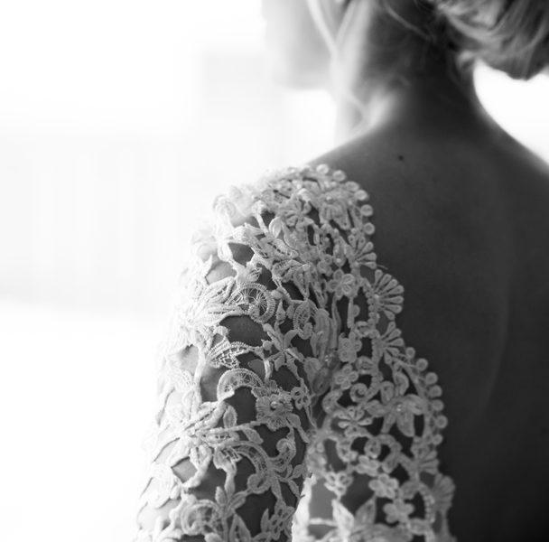 beautiful wedding dress detail photo