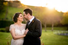 mill park hotel wedding photo at sunset