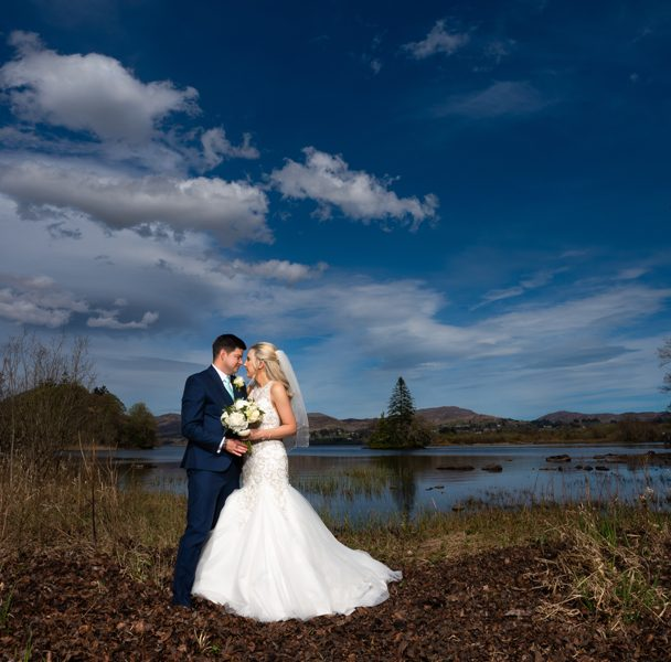 solis lough eske castle wedding photo on shore of lough eske