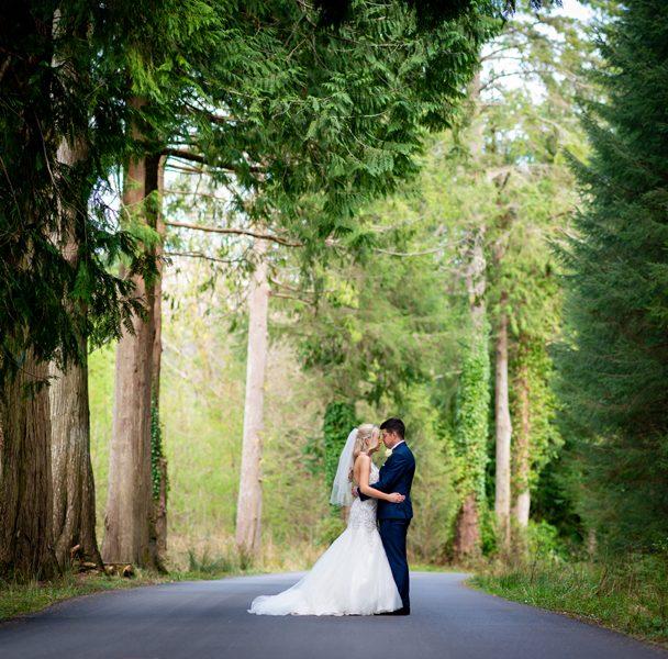 wedding photo on drive of solis lough eske castle