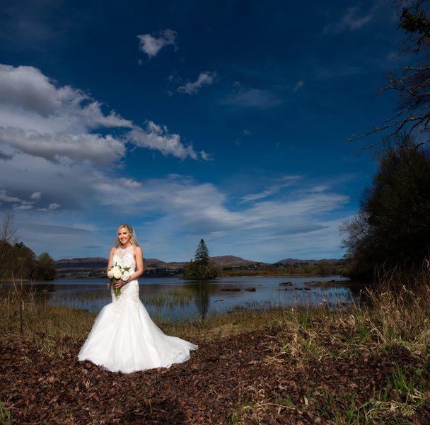 stunning bride portrait at lough eske harveys point wedding