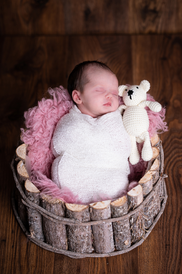 newborn photography donegal baby girl in rustic bucket