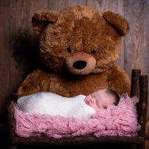 newborn photography sligo baby girl and bear