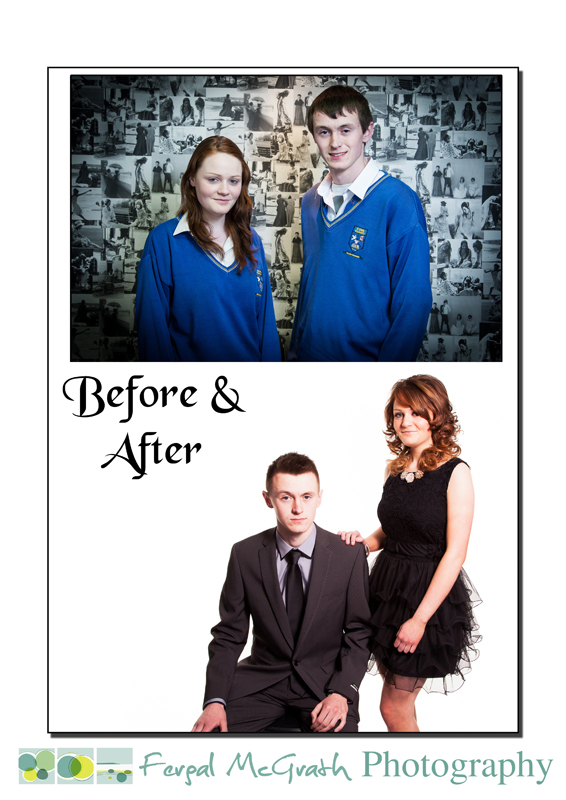 Niamh Foley and Lorcan Lynch before and after makeover photo