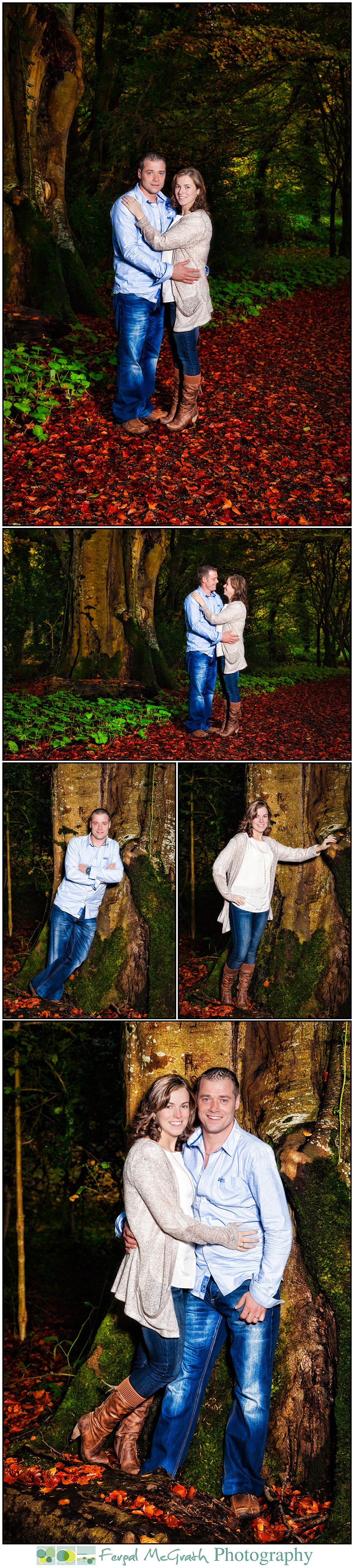 happy couple family portraits in a forest setting in autumn in fermanagh