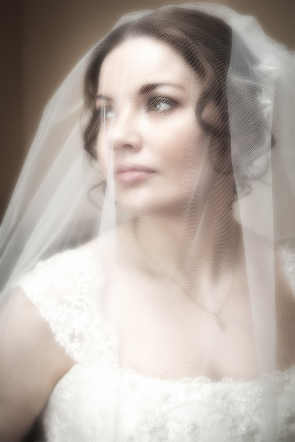 stunning bride under her veil portrait