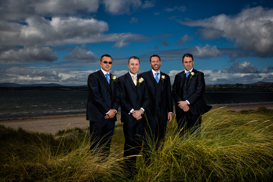 groom and groomsmen wedding photo on murvagh beach
