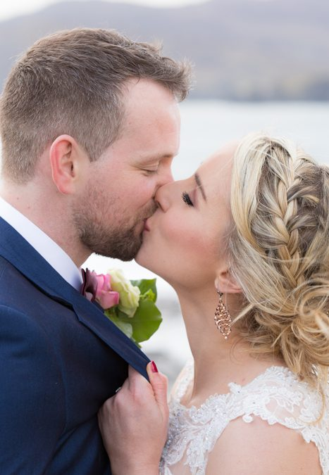 donegal wedding bride and groom kiss