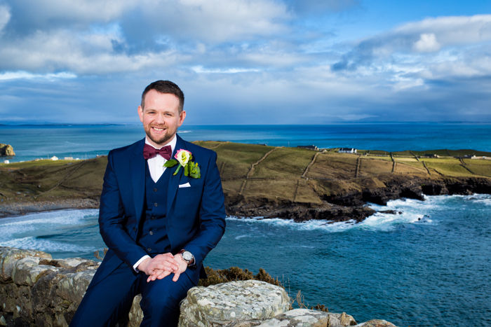 groom wedding photo at muckross head donegal